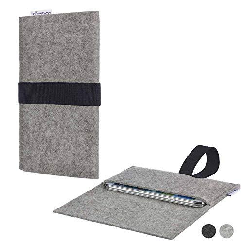 flat.design Handy Hülle Aveiro für Energizer P20 passgenau Handytasche Filz Tasche Etui Case fair schwarz hellgrau