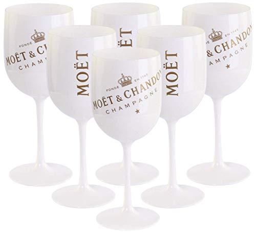 6 x Moët & Chandon Ice Imperial Champagner Acryl-Glas 0.45l Becher Kelch weiss/gold Gläser Set inkl. Untersetzer (6 x Stück)