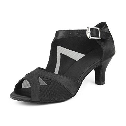 Sukutu - cómodos zapatos de baile latino para mujer, ideales para bailar salsa o tango, de satén, de tacón - SU004, color rojo, talla 24 cm/38 EU