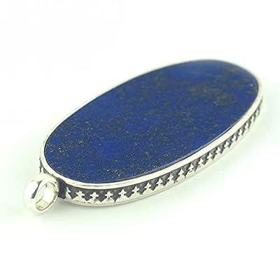 Pendentif de Lapis lazuli oval de couleur bleu royal cobalt serti d'argent 925, 41x22x4 env.