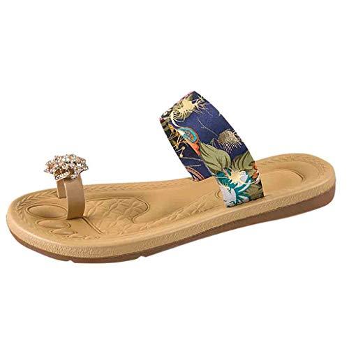Ziyou Sommer Frauen rutschfeste Sandalen Flache Strand Hausschuhe Jeweled Sandalen Toe Hausschuhe(39, Blau) Jeweled Stiletto