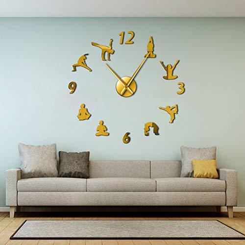 NO BRAND Reloj de Pared Yoga Relojes de Pared Grandes Efecto de Espejo Sala de Estar DIY Reloj de Pared...