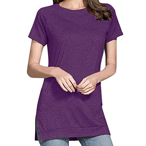 Yvelands-Damen T-Shirt Tops Sommer Volltonfarbe Rundhals Split Kurzarm Casual - Cool Cheshire Cat Kostüm