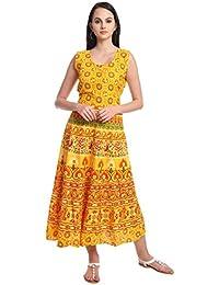 Fabsom Women's Cotton Long Maxi Dress (FSKU 03 _Yellow_ Free Size)