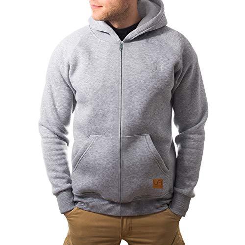 urban air   Zip Hoodie, Sweatjacke, Pullover-Jacke   Damen, Herren, Unisex   für Fitness und Freizeit   grau oder schwarz   S, M oder L (M, Street Classics grau)