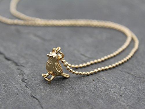 Halskette Kette Anhänger Spatz Vogel Meise Filigran Schmuck in Gold Vögelchen
