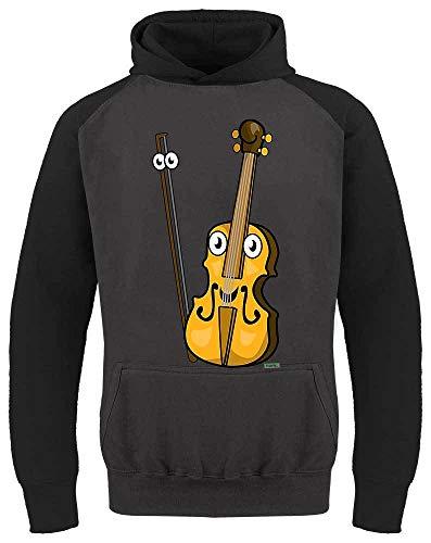 HARIZ Kinder Baseball Hoodie Geige Lachend Instrument Kind Witizg Plus Geschenkkarte Dunkel Grau/Schwarz 104/3-4 Jahre