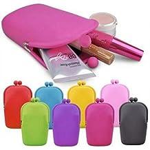 Hilai Bolsa de maquillaje de silicona para cosméticos, monederos, cartera para teléfono móvil (