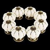Kurtzy 8 teiliges Cremefarbenes Weißes Keramik-Effekt Schrankknäufe Set Vintage Antik-Effekt Möbelknäufe Möbelgriff Schrankgriffe Schubladenknopf Set für Inneneinrichtung Küche Badezimmer