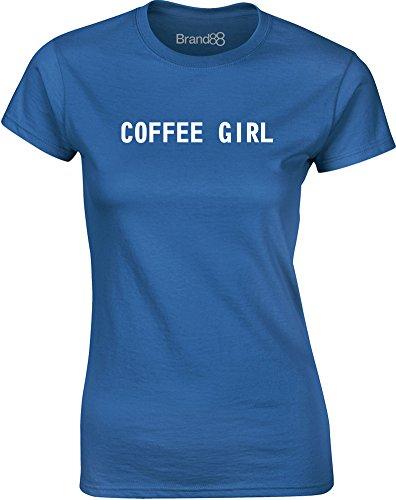 Brand88 - Coffee Girl, Mesdames T-shirt imprimé Bleu/Blanc