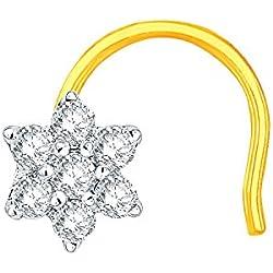 Nakshatra 18k (750) Yellow Gold and Diamond Nose Pin