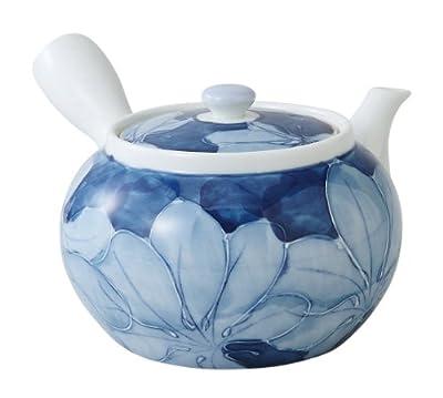 Saikai Pottery Théière japonaise Hasami-yaki Kyusu 475 ml Motif floral japonais traditionnel bleu, fabriqué au Japon 99184