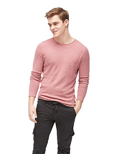 TOM TAILOR Denim Herren Pullover Mélange Crew W.Rolled Edges deeply mauve