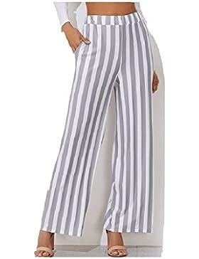 SYGoodBUY Pantalones Largos de Mujer Pantalones Elásticos de Cintura Ancho Fluido Impreso a Rayas Elegante