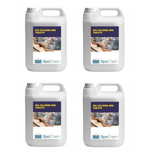 4x 5kg Spa Chlor Mini Tablets von spachem–Multifunktionale Whirlpool Swimmingpool Spa Wasser Behandlung chemischen (Bulk)