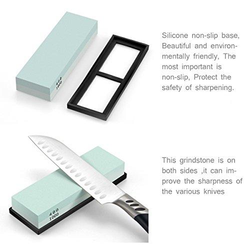 Yododo Premium Whetstone Messer Sharpener – 400/1000 Korn Zwei Sided Wet Schärfstein. - 3