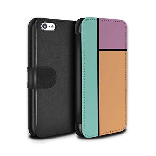 Stuff4 Coque/Etui/Housse Cuir PU Case/Cover pour Apple iPhone 5C / Pack 14pcs Design / Carreaux Pastel Collection 3 Carreaux/Orange