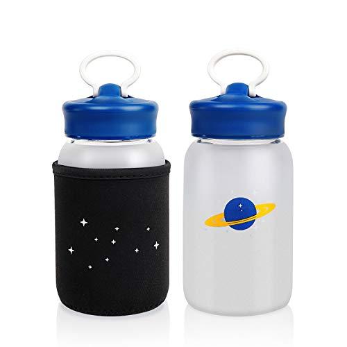 Trinkflasche Glas 450ml, BPA-freie Borosilikate Glasflasche, Auslaufsichere Wasserflasche Glas mit Neoprenhülle, Sportflasche zum Mitnehmen von Kalten Heiß Getränken für Kinder, Reise, Zuhause