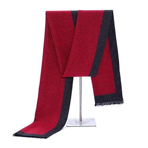 QJIAXING Klassische Kaschmir-Schals der Männer beiläufige starke Freizeit-Geschäfts-Halstuch-Farbe mit Geschenkbox 180 * 30cm , red , 180*30cm (Hahnentritt Wolle-mischung)