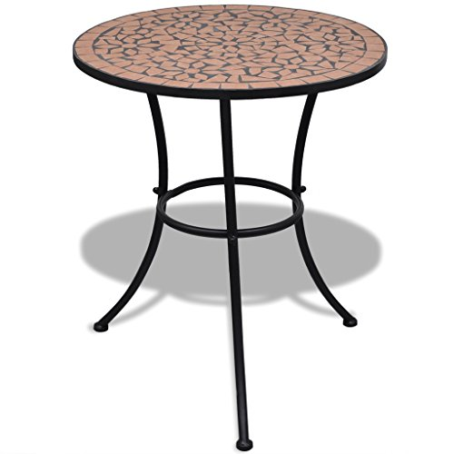 Anself Garden Mosaic Table Side Table Round for Balcony 60 cm Terracotta