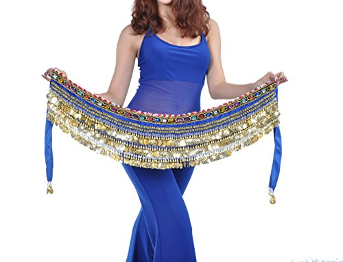 Dance Fairy Samt Belly Dance Hip Schal mit 338 Gold Münzen Crystal Star (Royal Blau)