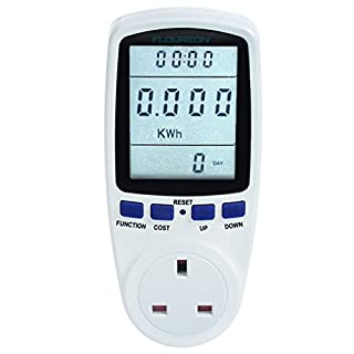 FLOUREON Power Meter UK Energy Monitor AC 230V~250V Power Consumption Meter Energy Cost Calculator Watt Voltage Amp Meter[Energy Class A+++] - 1pack