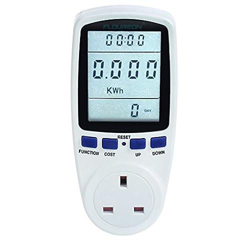 Floureon Power Meter Energy Monitor with Digital LCD Display for