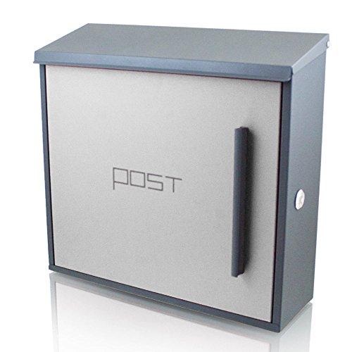 BITUXX® Wandbriefkasten Design Briefkasten Postkasten Mailbox Dunkelgrau Front Hellgrau Schloss seitlich Postkasten