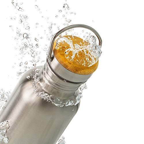 Pure Design Trinkflasche Edelstahl 1l - 1000ml, 750ml, 500ml, 350ml mit Bambus Kappe, 1Flasche=1kg Müllsammeln, Leicht Auslaufsicher Edelstahlflasche für Sport und Büro - Kein Plastik & Ohne Logos, BPA Frei, Lebensdauer GAR.