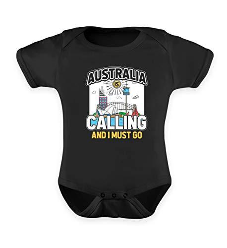 Shirtee Australien Ruft Mich und ich muss gehen - Geschenk für Abiturientin Work&Travel Abitur - Baby Body -6-12 Monate-Schwarz - Body Works Geschenk
