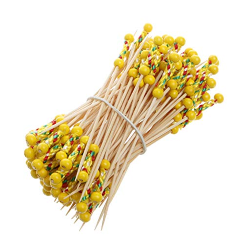 Cocktail-party Foods (JAGETRADE 100Pcs Bamboo Drink Cocktail Sticks Stirrer Food Fruit Buffet Party Wedding 12cm)