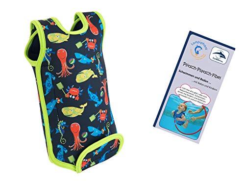 dence Babywarma, Schwimm-Anzug mit Plitsch-Platsch-Fibel, Meerestiere auf Navy, 12-24 Monate ()