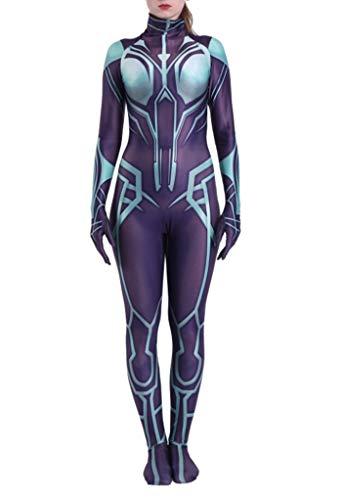 Yewei Comics Goddess Hela Kostüm Overall Damen Kinder Cosplay Jumpsuit Bodysuits Onesies (Lila, - Comic Con Kostüm Kinder