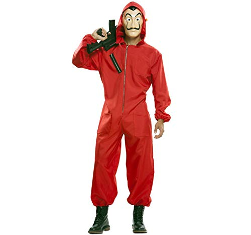 EUROCARNAVALES Deluxe Kostüm Haus des Geldes La Casa de Papel inkl. Maske & Fake-Waffe Overall rot (S) (Deluxe Maske Kostüm)