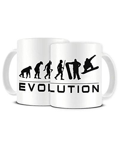 Funky NE Ltd Kaffeebecher aus Keramik, Motiv Evolution eines Snowboarders Torah Bright Snowboard