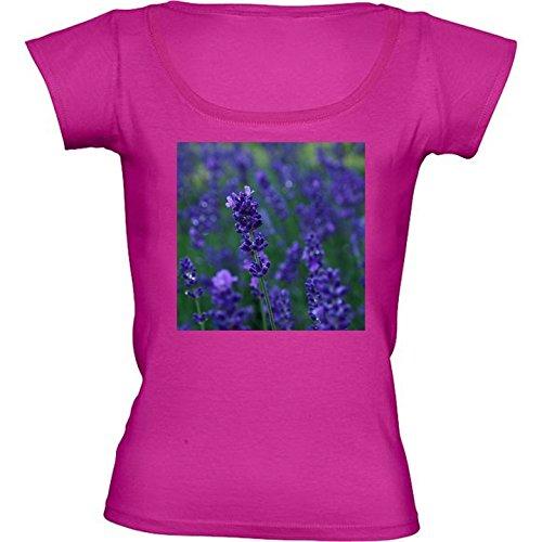 rundhals-rosa-fuchsie-damen-t-shirt-grosse-m-lavendel-busch-by-utart