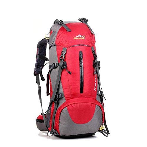 LINGE-Outdoor-Bergsteigen Tasche lange große Kapazität wasserdichter Rucksack camping Zelte für Männer und Frauen 50L Red