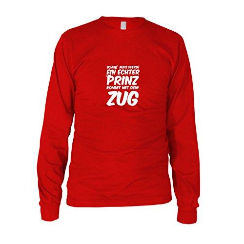 Ein echter Prinz kommt mit dem Zug - Herren Langarm T-Shirt, Größe: XL, Farbe: (Hut Kostüm Lokführer)