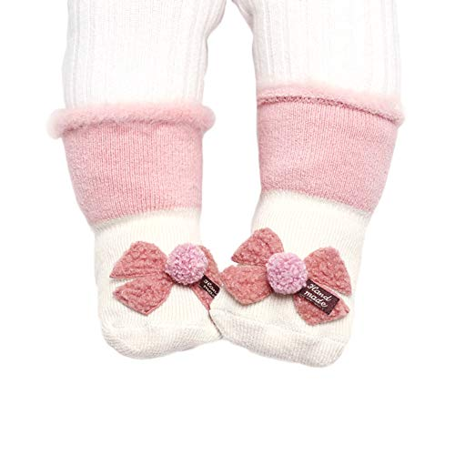 Acryl-crew Socke (Wimagic 1 Paar Baby Kleinkind Socken Jungen Mädchen Cute Cartoon Frottee Socken Winter dick Warm Atmungsaktiv Schlafsocken für Baby Kleinkind, acryl, Bow Style, S 0-1 Years)