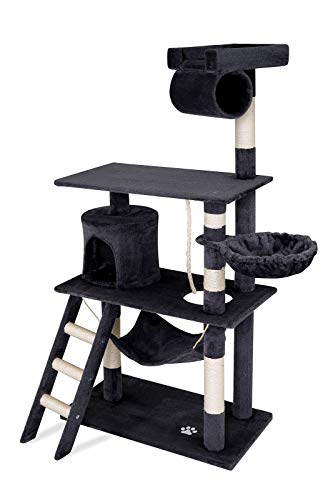 Dibea KB00503 Árbol Rascador para Gatos, 141 cm, de Altura, Escalador Muy Ancho Gris