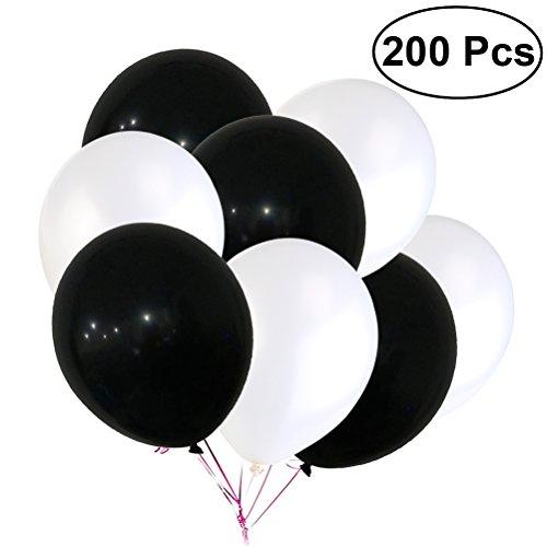 TOYMYTOY Globos de látex, globos blancos y negros para decoración de fiesta, 12 pulgadas
