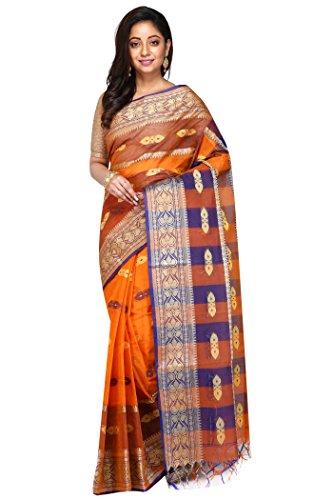Badal Textile Orange & Blue Handloom Cotton Tant Saree, Traditional Bengali Wear