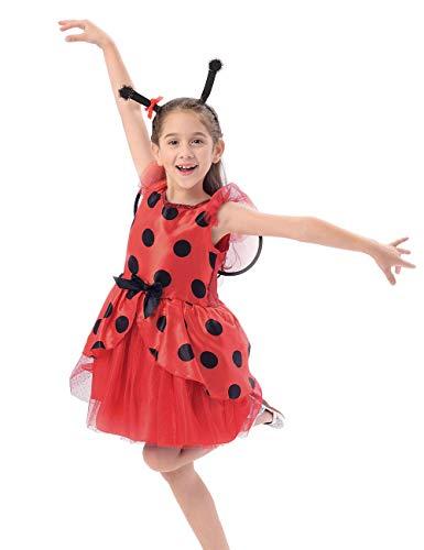 Tutu Kostüm Kind Marienkäfer - IKALI Ladybug kostüm Kinder mädchen, Marienkäfer Tierischeskleid Ballerina Tutu Rock mit Flügel für Karneval Fasching