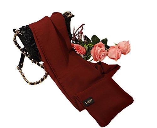 SAFIYA - Hijab Kopftuch für muslimische Frauen I Islamische Kopfbedeckung 75 x 180 cm I Damen Gesichtsschleier, Schal, Pashmina, Turban I Musselin/Chiffon - Bordeaux - 2