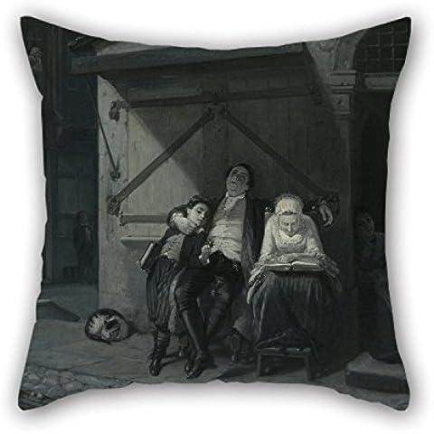 uloveme funda de almohada de pintura al óleo Moritz Daniel Oppenheim–sábado resto (sabbath-ruhe auf der Gasse) 18x 18pulgadas/45por 45cm, el mejor ajuste para cama, ropa de cama Diván, marido, dormitorio, Boy Friend, casa cada