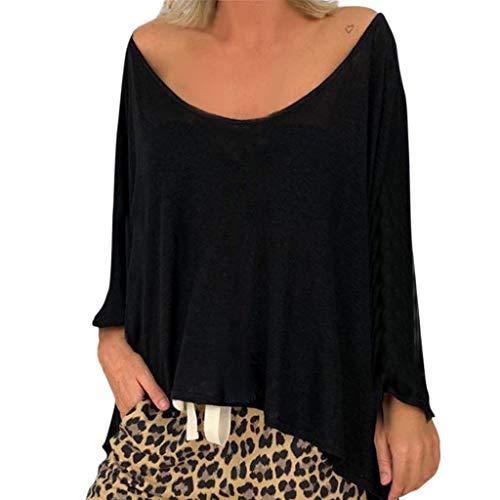 LEXUPE Damen Langarmshirt Damen Kurzarm Shirt Damen Langarm T-Shirt Rundhals Falten T-Shirt Casual Stretch Tunika Top Shirts Für Herbst & Frühling(Schwarz,X-Large) (Falten Stretch Kostüm)