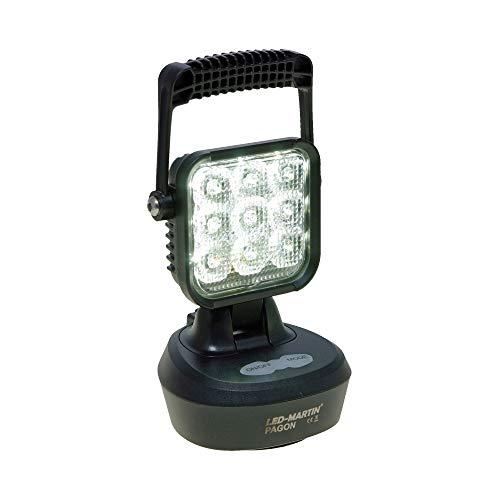 LED-MARTIN Arbeitsscheinwerfer PAGON mit Akku & Warnfunktion, 12V Ladekabel, 220V Ladekabel