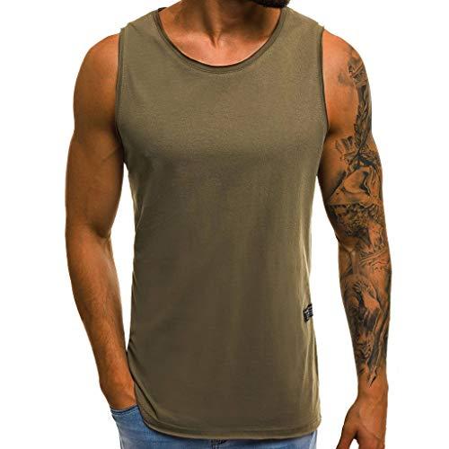ren Slim Fit Basic T-Shirt Tankshirt Ärmellos Muskelshirt Fitness Unterhemden(Grün,CN 3XL) ()