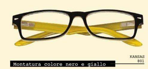 EL CHARRO NEBRASKA Occhiali Per Lettura Certificati - Garanzia 2 anni (Verde-Asta Giallo, +1,50)