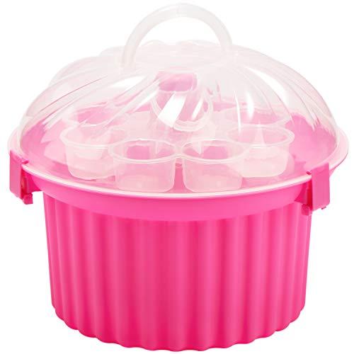 COM-FOUR® Transportbox für 24 Muffins und Cup-Cakes - Tragbarer Partycontainer aus Kunststoff - Kuchen-Transportbehälter mit Serviermöglichkeit (01 Stück - Muffin pink) Cake Butler